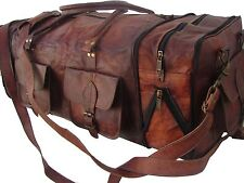 "30"" New Men's Real Brown Leather Duffle Bag Weekend Travel Luggage Holdall L Bag"