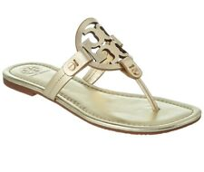 New in Box Tory Burch Miller Thong Sandals Spark Gold Leather US 10 AUTHENTIC