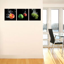 SET( 3 teilig) CANVAS Leinwandbild Apfel Banane Obst Wasser Vitamin  3FX10550S13