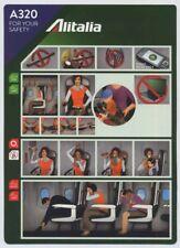 Alitalia Italian airlines A 320 Airline SAFETY CARD S size memorabilia sc862 aa