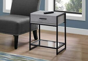 ACCENT TABLE - 22H / GREY / BLACK METAL / TEMPERED GLASS