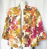 Pendleton Womens Floral Open Front Blazer Jacket With 3/4 Sleeve Size Large