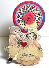 KITTY CUCUMBER VALENTINE CARD Mechanical PINWHEEL Changes Color! MINT Shackman