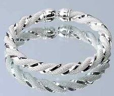 Wholesale Fashion Jewelry Solid 925silver Men/women Bracelet / Christmas Gift