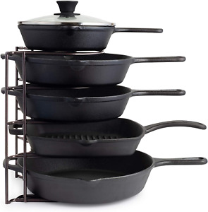 New Durable Steel Heavy Duty Pan Rack for Cast Iron Skillets Griddles and Pots