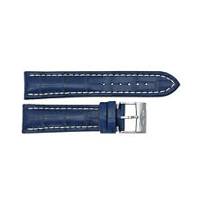 Breitling Strap Blue Leather Strap with White Stitching and a Stainless Steel