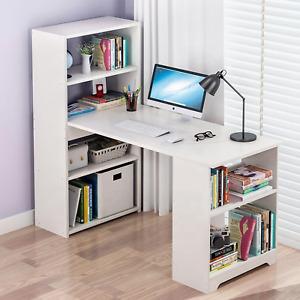 Computer Desk With Shelves Laptop Study PC Table 120cm Home Office Corner Desk
