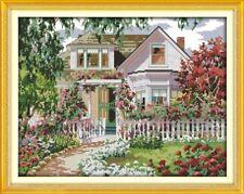 Una hermosa villa Jardín Cross Stitch Kit BNIP 14 ct tamaño 44 x35 Cm