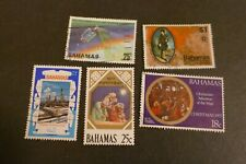 5 Bahamas used postage stamps philately kiloware postal letter mail Caribbean