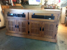 Media Console Mission Style Solid Oak TV Stand