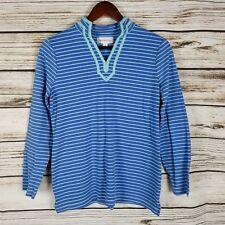 Breckenridge Womens Top Size S Blue and Aqua Striped Long Sleeve Knit Cotton Bl