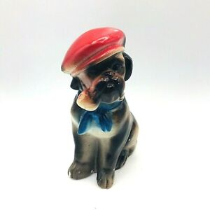 "Vintage Chalkware Carnival Dog Boxer Hat Pipe Bulldog Figurine 6"" Tall"