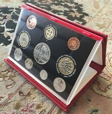 2001 UK Coins Proof Set In Genuine Leather Presentation Box & Original Paperwork