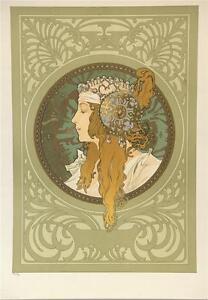 Mucha Byzantine Heads Blonde Limited Edition Fine Art Lithograph COA S2
