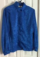 1980's 'David Benjamin' Electric Blue Collared Silky S Blouse Shirt Long Sleeves