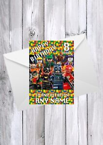 LEGO SUPERHEROES Birthday Card, Any Relation, name and age