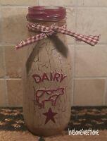 Primitive Crackle Tan & Burgundy Star Glass Milk Bottle  Country Farm Decor