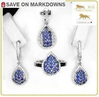 10 ct Sapphire Ring, Earrings, Pendant & Necklace Set