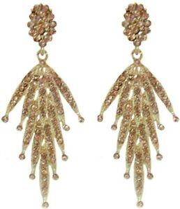 Gold Plated Crystal Dangle Chandalier Earrings for Pierced Ears Fashion Earrings