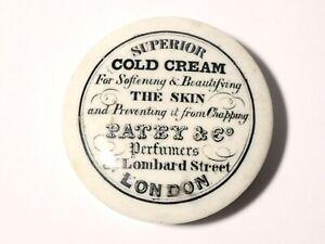 Antique PATEY & CO Superior Cold Cream b/w LONDON Pot Lid a/f 6.5cm #PL89