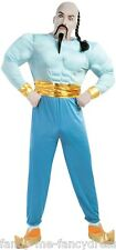Mens Blue Arabian Genie Book Day Film Fancy Dress Costume Outfit Size Large