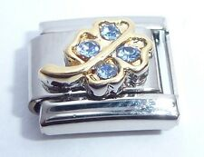 LUCKY CLOVER Italian Charm - BLUE GEMS 9mm Classic Size N75 Good Luck Shamrock