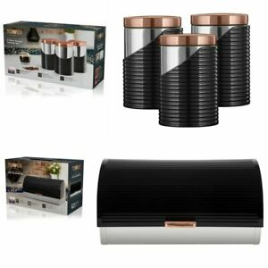 TOWER ROLL TOP BREAD BIN & SET OF 3 CANISTERS BLACK & ROSE GOLD STAINLESS STEEL