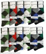 12 Pairs Mens Argyle Dress Socks NEW Premium Blended Focus #3Focus3 Size 10-13