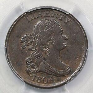1804 C-8 PCGS AU 55 LDS Draped Bust Half Cent Coin 1/2c