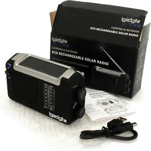 Wind Up/Solar & USB Rechargeable Portable Radio U4457 - iGadgitz Xtra - BNew