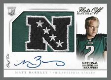 2013 National Treasures Matt Barkley On Card Auto NFC 2 Color Logo Patcc Rc 1/1