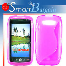 S CURVE PINK Soft Gel TPU Cover Case F BlackBerry Torch 9860 + Screen Protector