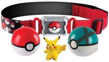 "Pokemon Clip 'N' Carry Pikachu Belt Poke Ball Net Ball Toy 2"" Figure Age 4+ TOMY"
