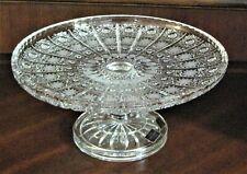 "Bohemia Czech Vintage Crystal Pedestal Plate, 11"" Wide, hand cut, Queen Lace"