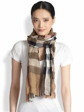 BURBERRY Giant Crinkled Exploded Check Linen Scarf, 180x50cm