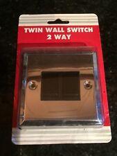 Thin double light switch, polished chrome, 2 way