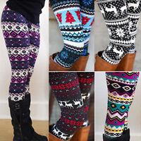 Women's Fleece Lined Thick Leggings Warm Winter Xmas Christmas Pants Trousers US