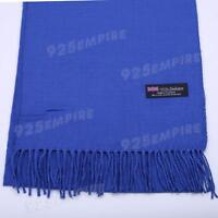 Men's 100% CASHMERE Warm PLAIN Scarf pure solid Royal Blue Wool MADE IN SCOTLAND