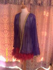 Drag Queen/Cabaret SHORT Purple glitter coat with Red feathers 20/22