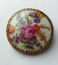 Vintage USSR Finift hand painted enamel Soviet round pin brooch flower