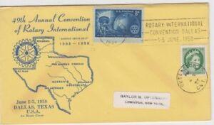 Stamp USA 1958 Rotary 50th anniversary cover slogan postmark Canada 2c QE2 added