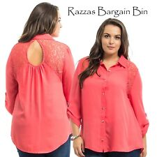 New Ladies L/S Coral Top With Lace Shoulders Plus Size 18/2XL (9880)MY