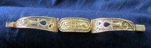 "EGYPTIAN MOTIF YELLOW GOLD HINGED LINK BRACELET 18k - 20k 31 GRAMS 6 3/4"""