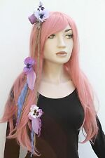Purple Flower Feather Dread Hair Fall Clip Extensions Goth Indie Boho Psytrance