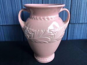 Vintage ABINGDON POTTERY Double Handled Pink LEAF FEATHERS Art Deco MCM
