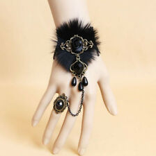 Women Black Fur Lace Man-made Pearl Bracelet Ring set Dancing Party Jewelry Gift