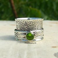 Peridot Ring 925 Sterling Silver Spinner Ring Meditation Statement Jewelry A75