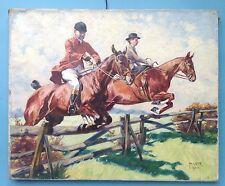 3v3 Impressionismus Ölgemälde Münchner Schule Pferd Pferde Springreiter M. Veit