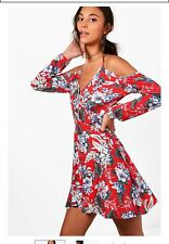 Floral Shift Dress With Sleeves Cold Shoulder