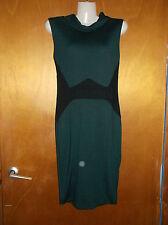 "JDC London Sleeveless Panelled Jersey Shift Dress UK6 L35"" Green/Black Mix BNWT"